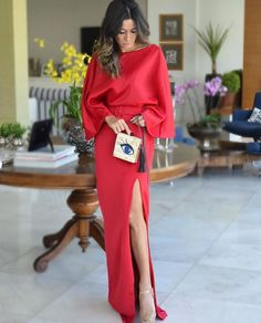 Amo um longo vermelho ❤️❤️ Look  @insensatez485 #ladyinred #ootn