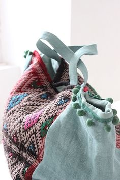 Linen bag and ancient Berber fabric.