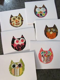 Fabric Owl Blank Notecards Set of 6 by ThatsSewBeth on Etsy, $10.00 Owl Fabric, Fabric Crafts, Auction Ideas, Cute Diys, Cool Cards, Owls, Holiday Cards, Yup, Lazy