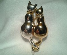 Vintage Gold Silver Givenchy Double Cat Love Togetherness Friendship SOLD  Brooch Pin in Jewelry & Watches | eBay