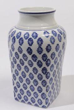 "10.25"" Beach Day Blue and White Elegant Damask Patterned Ceramic Vase"