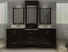 Shop for ARIEL Stafford 85-inch Double Sink Espresso Vanity Set ...