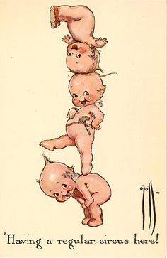 Kewpie postcard art, United States, 1914-15, by Rose O'Neill.
