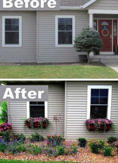 Add character with window boxes! ~ 17 Impressive Curb Appeal Ideas (cheap and easy!) Informations About Add character with window boxes! ~ 17 Impressive Curb Appeal Ideas (cheap an. Pin You Home Landscaping, Front Yard Landscaping, Landscaping Design, Diy Projects On A Budget, Verge, Decor Scandinavian, Design Seeds, Window Boxes, Window Ideas