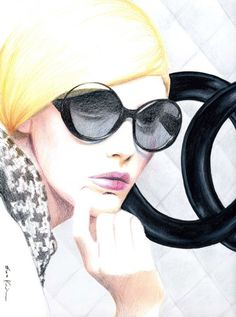 Chanel Wall - Print of Original Fashion Illustration. $18.00, via Etsy.
