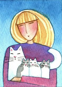 ACEO Art Card-- Cat Lady, White Cat and Kitten by SusanFayePetProjects on Etsy, $18.00