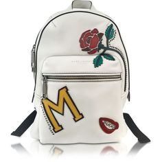Marc Jacobs Handbags MJ Collage Biker Dove Leather Backpack w/Multi... (9.060 NOK) ❤ liked on Polyvore featuring bags, embroidered backpacks, leather backpack bag, genuine leather backpack, studded backpack and studded leather backpack