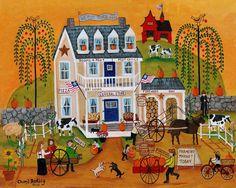 Cheryl Bartley Folk Art: OLD TYME AMERICANA GENERAL STORE GICLEE PRINT