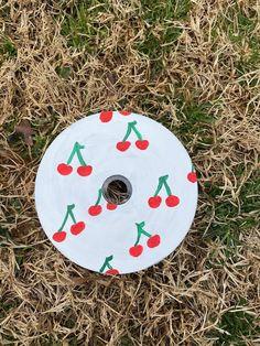 Cherry Painted CD | Wall Art | Painting Decoration | Painted CD's Decor by ArtByKatherineCo on Etsy Cd Decor, Indie Room Decor, Cd Wall Art, Cd Art, Small Canvas Art, Mini Canvas Art, Vinyl Record Art, Vinyl Art, Cd Crafts