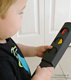 Playing with a DIY Toy Traffic Light from Craftulate at B-Inspired Mama