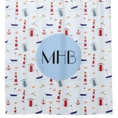 Monogram - Nautical Pattern - Blue Red White Shower Curtain - shower curtains home decor custom idea personalize bathroom
