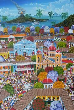 Título:Vida Familiar en Granada. Artista:Carlos Marenco Alfaro. Técnica:Oleo sobre Lienzo. Año:2012. Lugar:Masaya.