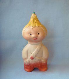 Vintage Russian Sound Rubber Toy Doll, Figurine Cipollino, Boy - Onion,1950s