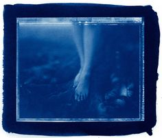 This is a Scanned image from the actual Cyanotype Contact Print from Polaroid Type-55 Negative on Arsches Watercolor Paper.   Original version is here