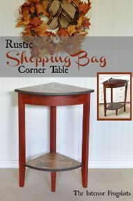 rustic shopping bag corner table, decoupage, painted furniture, rustic furniture