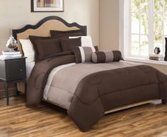 6 Piece Full Tranquil Chocolate and Taupe Comforter Set by KingLinen, http://www.amazon.com/dp/B00B2PSDDS/ref=cm_sw_r_pi_dp_eUuqrb09PSVK0