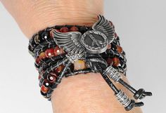 Red and Black Leather Wrap Bracelet edgy by WrappedInLeather
