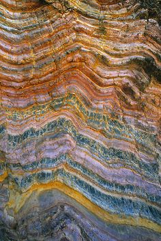 The Art of Rock Folding by Ern Mainka--Geological rock folding in sedimentary layers on beach coastline, Croajingalong National Park, Victoria, Australia. Approx 5×3 foot section shown.