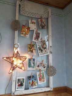 Using old christmas cards part of holiday decoration. #christmascards #christmas #diychristmas