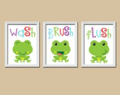 FROG Bathroom Frog Wall Art Kid Bathroom Wash Brush Flush Nautical Bathroom  Frog Theme Bathroom Set