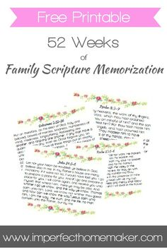 52 Weeks of Family Scripture Memorization - Free Printable Memory Verse Cards | Christian Homemaking