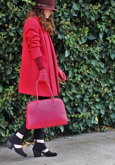 Paletti Boutique SLC  #fashion #style #fallfashion #winterfashion #red #redcoat #redbag #redgloves #cutout #booties #hat #womensfashion #advancedstyle #ladyinred #chic #modern #classic #edgy