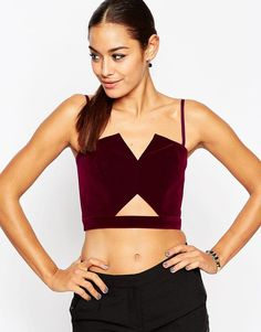 Image 1 of ASOS Velvet Bandeau Top