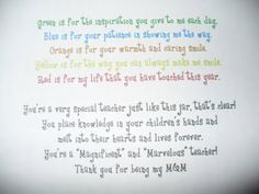 M Cookies and this poem for teacher's gifts