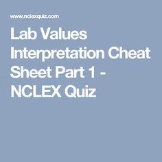 Lab Values Interpretation Cheat Sheet Part 1 - NCLEX Quiz