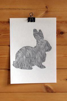 Rabbit Original Line and Circle Illustration - Ink- Drawing - Art. £35.00, via Etsy.