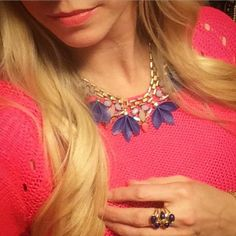 Stella & Dot's Melia necklace & Pauline ring paired with coral is just what we need for Spring! Loving this color combo!