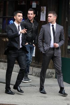 DEEP.FRIED.SEX.ON.A.STICK.  it doesn't get better than this...  Joe Jonas and Zac Efron together in suits #isthisreallife