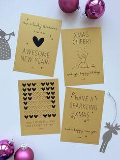 Ja ik weet het, het is nog 82 dagen tot Kerst. Maar kerstkaarten lanceer je natuurlijk niet pas eind november. Dus, vandaag online: de Elske-kerstkaarten! Een set van 4 sprankelende kaarten, speciaal door mij ontworpen voor Kerst 2014. Alle kaarten gedrukt op prachtig dik gouden papier. Ik ga voor goud...