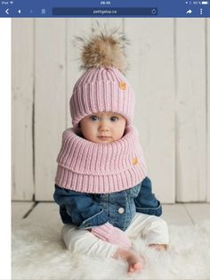 Ideas knitting scarf kids baby hats for 2019 Crochet Pony, Crochet Beanie, Crochet Hats, Baby Girl Hats, Girl With Hat, Baby Hats Knitting, Knitted Hats, Diy Crafts Knitting, Halloween Crochet Patterns