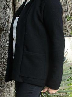 Garde-robe 2017 : 1) Veste --> CANNELLE jersey épais noir - Le Fuseau, la Navette et l'Aiguille