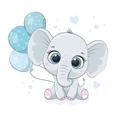 Baby Elephant Drawing, Elephant Baby Boy, Baby Animal Drawings, Cute Drawings, Baby Elephants, Baby Cartoon Drawing, Cartoon Baby Animals, Baby Shower Clipart, Baby Cards