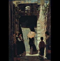 """Giacomo Favretto,""""Entrance of a patrician home in Venice"""", 1874, oil on canvas, Fondazione Cariplo, Milan"""