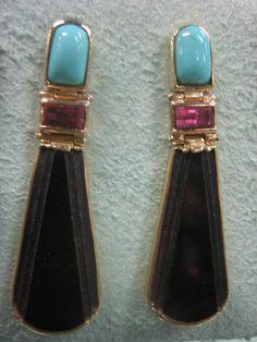 Persian Turquoise Rhodolite Garnet Black Onyx 14 by CaratsnKarats