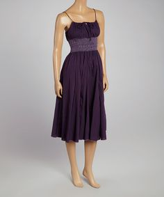 Another great find on #zulily! Purple Shirred Empire-Waist Dress by Advance Apparels #zulilyfinds