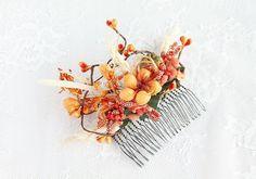 Fall Wedding Comb Woodland Hair Comb Rustic Head by HandyCraftTS