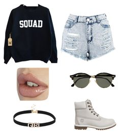 """""""shopping wit the squad"""" by imanilola ❤ liked on Polyvore featuring Boohoo, Timberland and Ray-Ban"""