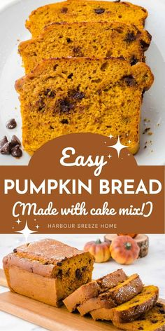 This moist pumpkin bread with chocolate chips is quick & easy to make with canned pumpkin and yellow cake mix. Filled with pumpkin spice and everything nice, it smells amazing as it bakes! It's the perfect recipe for Fall. Spice Cake Mix Recipes, Bread Recipes, Easy Recipes, Dessert Recipes, Moist Pumpkin Bread, Pumpkin Chocolate Chip Bread, Chocolate Chips, Spice Cake Mix And Pumpkin, Canned Pumpkin Recipes