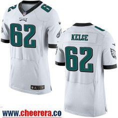 Men's Philadelphia Eagles #62 Jason Kelce NEW White Road Stitched NFL Nike Elite Jersey