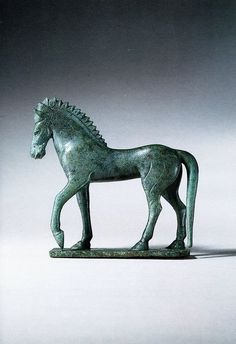 Etruscan Bronze Figure of a Horse Standing Upon an Integral Plinth. Late Archaic, Late 6th/Early 5th century B.C.E. Most probably from Vulci.