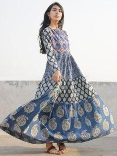Naaz Indigo Ivory Hand Block Printed Angrakha Dress With Gathers - Navratri Dress, Girl Fashion, Fashion Dresses, Buy Dresses Online, Tiered Dress, Indian Outfits, Cotton Dresses, Dress Collection, New Dress
