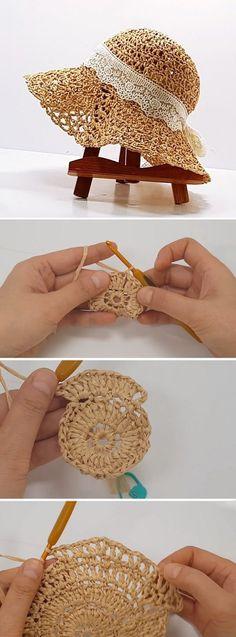 New Absolutely Free Crochet Hat tutorial Tips Häkeln Hut Tutorial – Design Peak / Mode Crochet, Crochet Diy, Learn To Crochet, Crochet Crafts, Yarn Crafts, Crochet Projects, Crochet Summer Hats, Diy Crafts, Knitting Projects