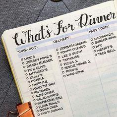 Bullet journal dinner ideas list, bullet journal meal planning. | @bujo_blossoms