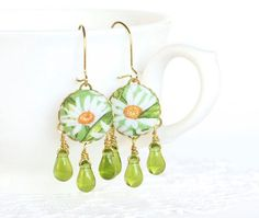 Dangle Earrings Daisies on Green White by PatchworkMillJewelry