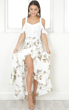 The Island Life maxi skirt in white floral  SHOWPO Fashion Online