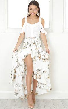 The Island Life maxi skirt in white floral  SHOWPO Fashion Online